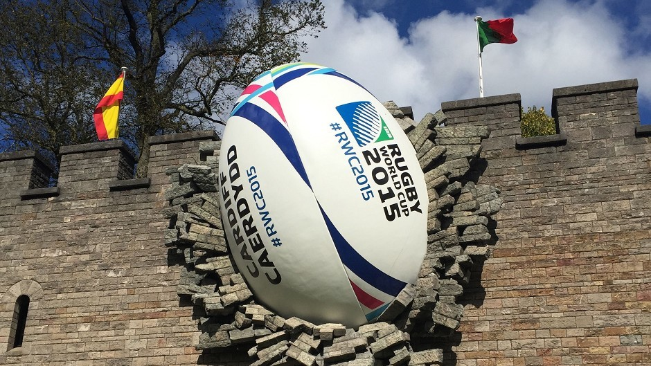 A giant rugby ball on the walls of Cardiff Castle to mark the start of the Rugby World Cup (PA)