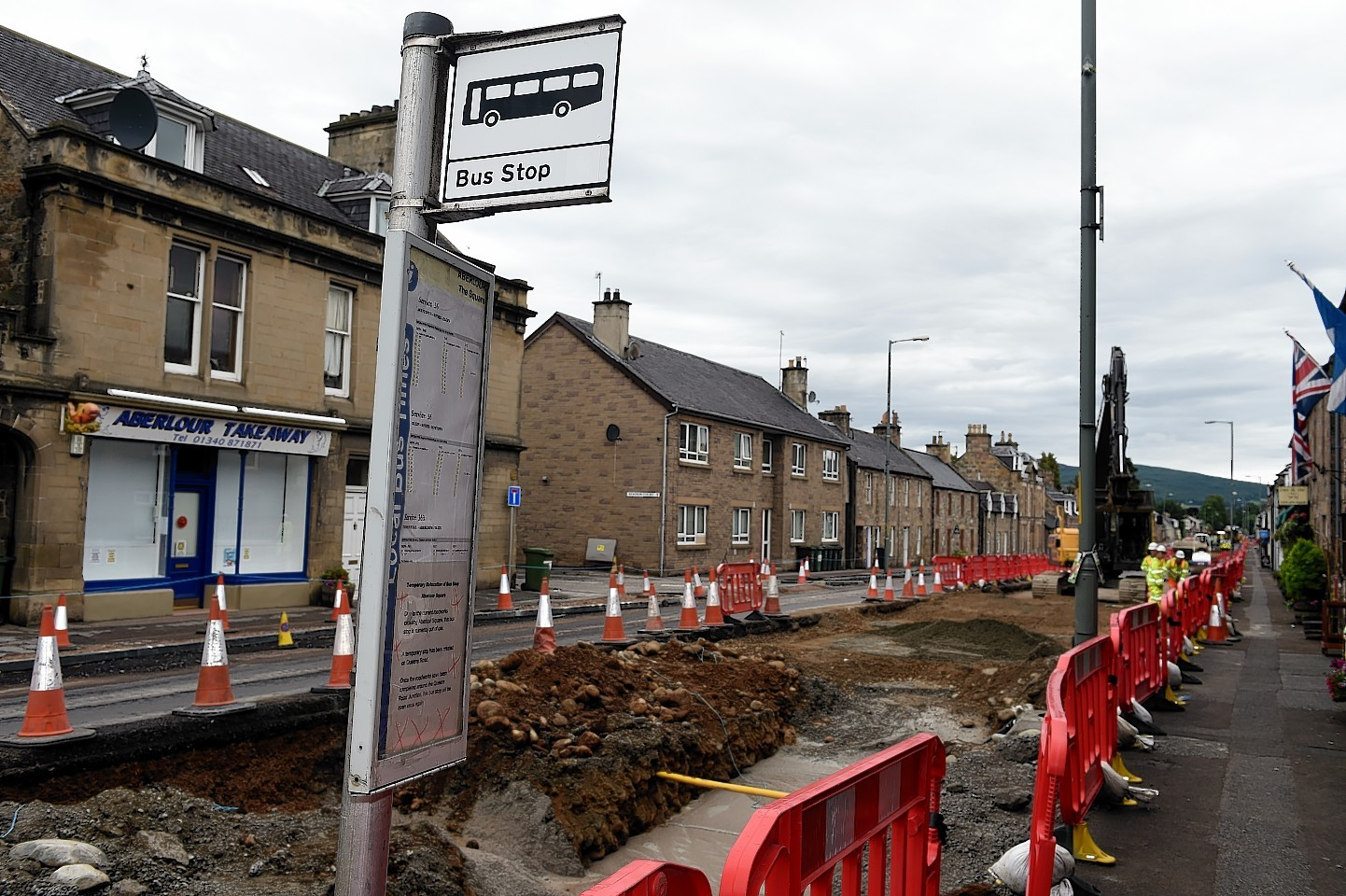 Work on Aberlour Main Street. Picture by Gordon Lennox