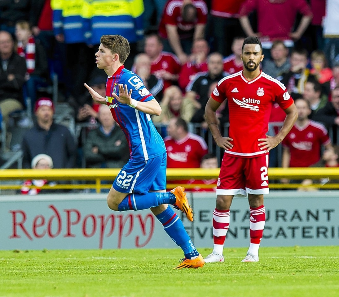 Ryan Christie celebrates his goal against the Dons