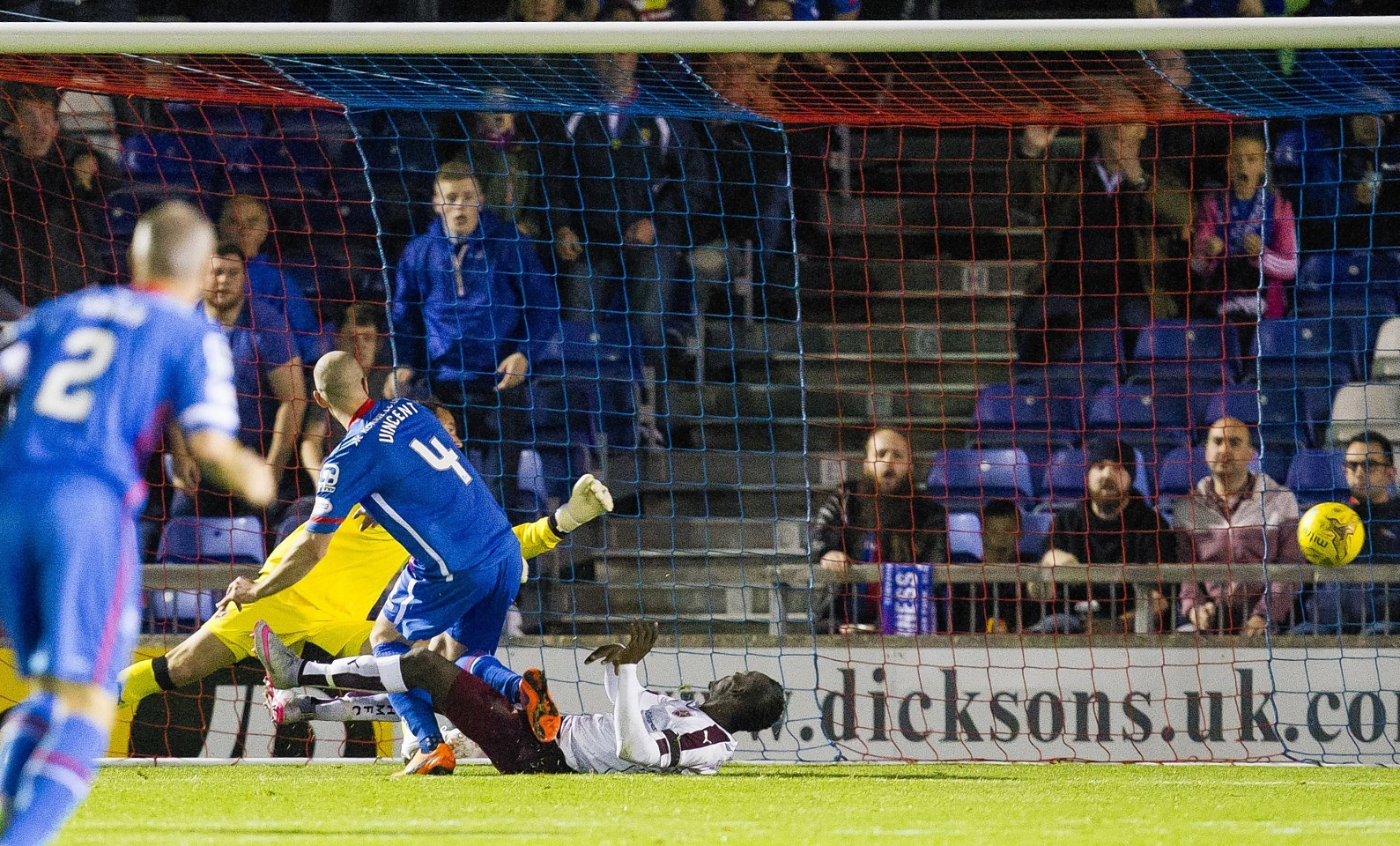James Vincent breaks the deadlock for Caley Thistle against Hearts.