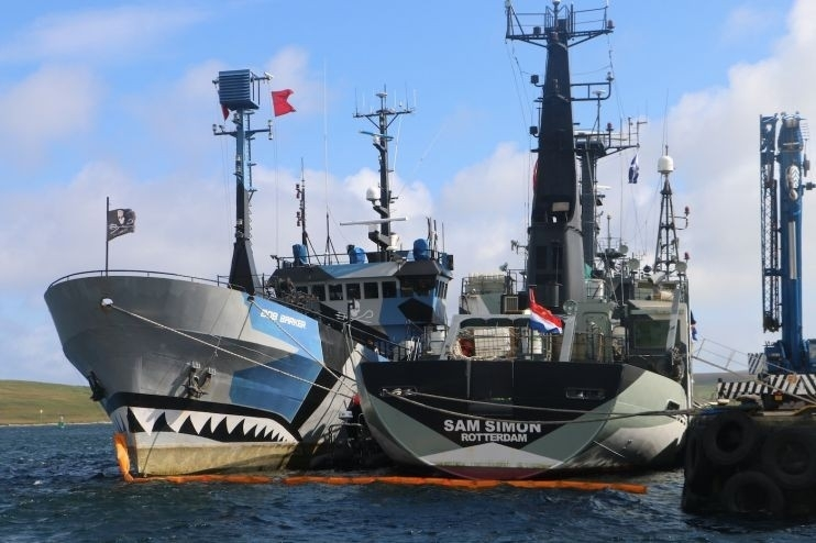 The Sam Simon (and another Sea Shepherd vessel, the Bob Barker) in Lerwick harbour