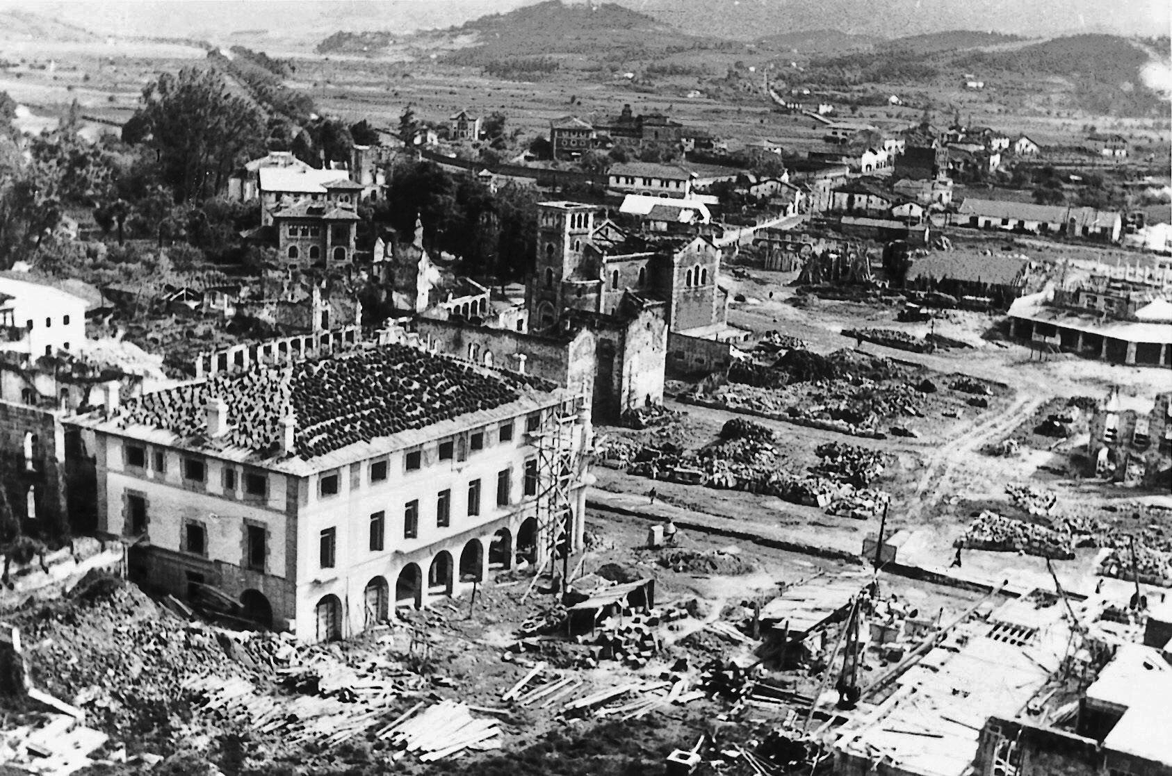 Guernica, seen in this 1940 aerial file photo three years after German and Italian fighter planes, backing the fascist forces of Gen. Francisco Franco in the Spanish Civil War, levelled this historic Basque town on April 26, 1937.