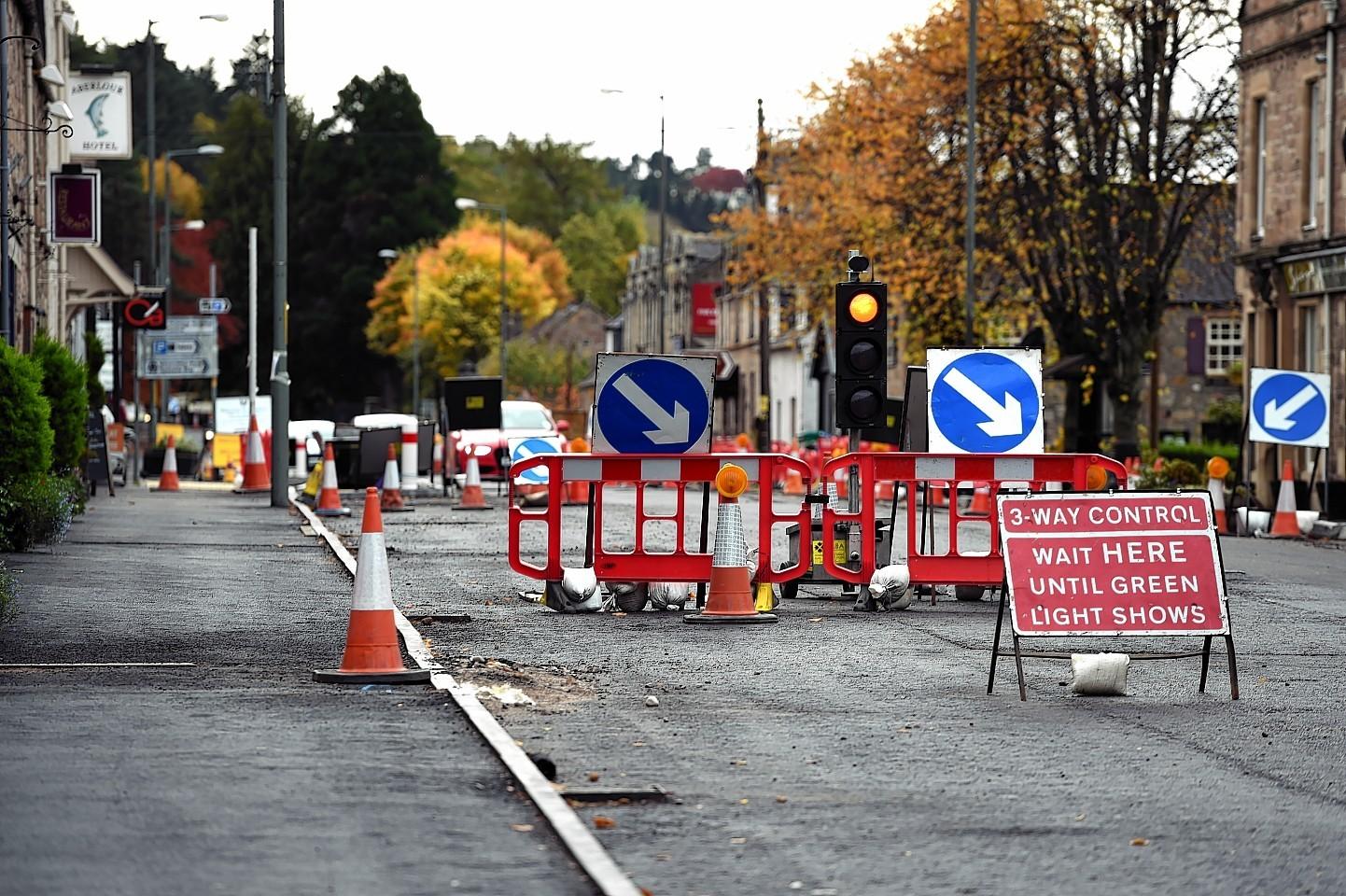 Roadworks in Main Street, Aberlour. Picture by Gordon Lennox