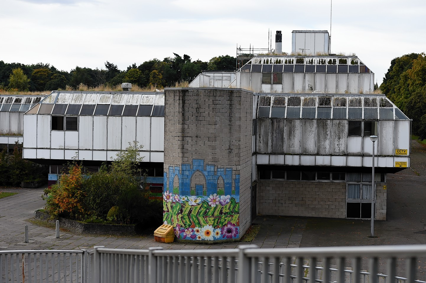 Alness Academy showing disrepair and growth of weeds and plants on the building.