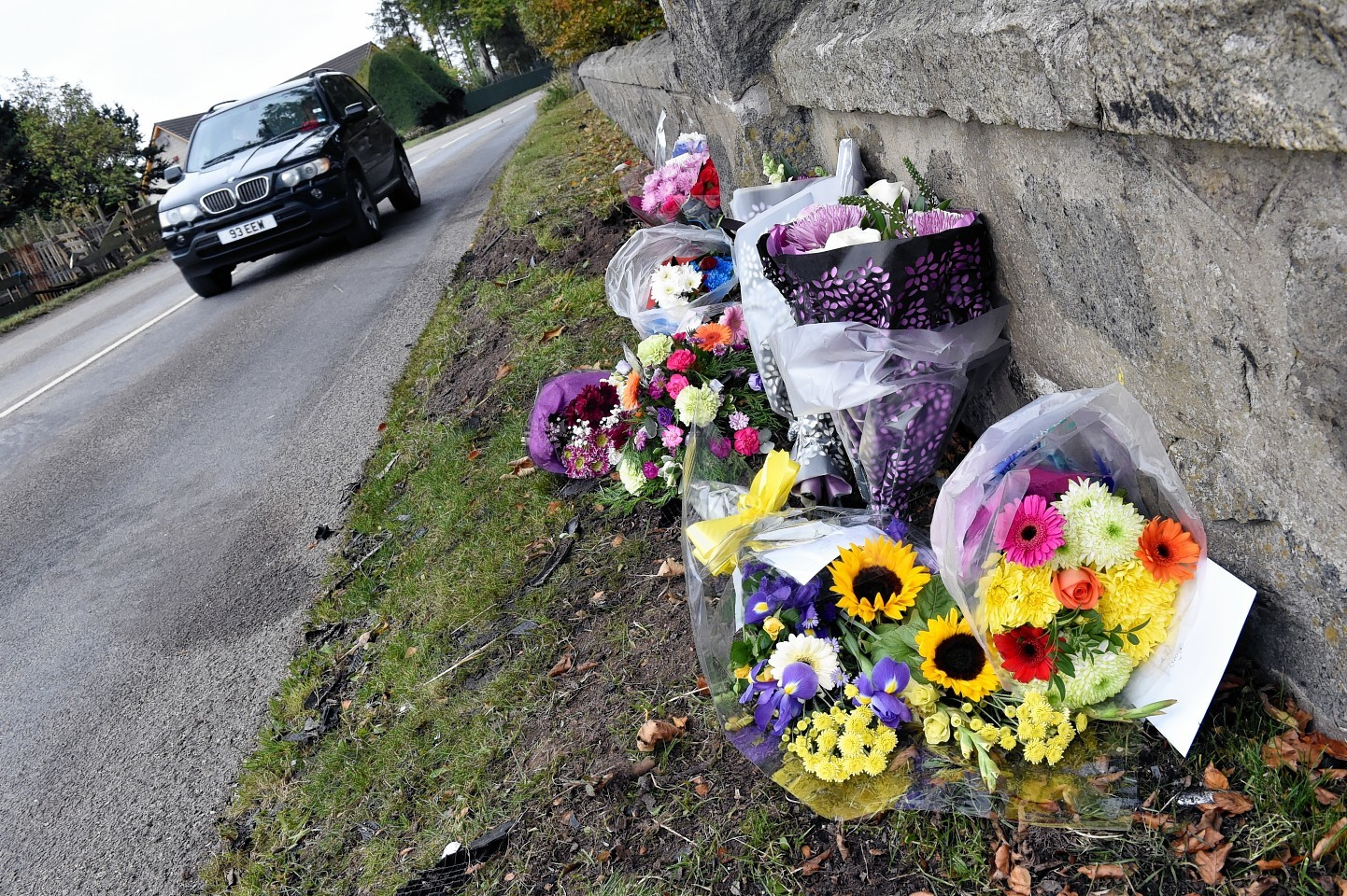 Flowers left at the scene where George Dow was killed