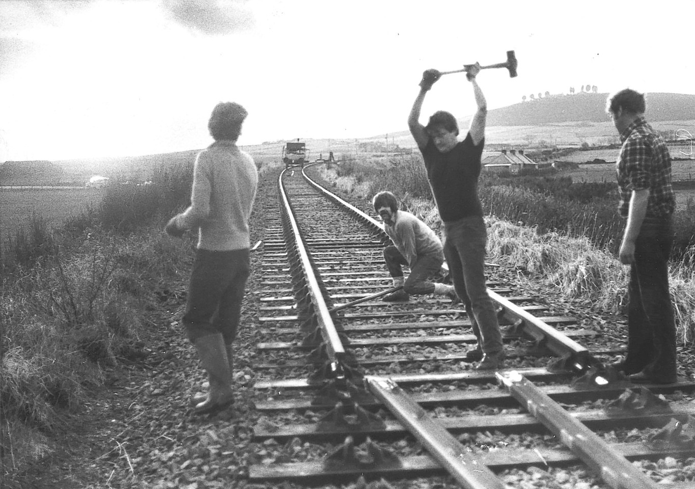 Work on the old Buchan rail line in 1979