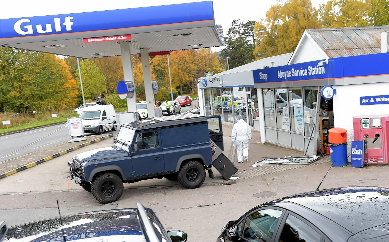 The scene of the cash machine raid in Aboyne