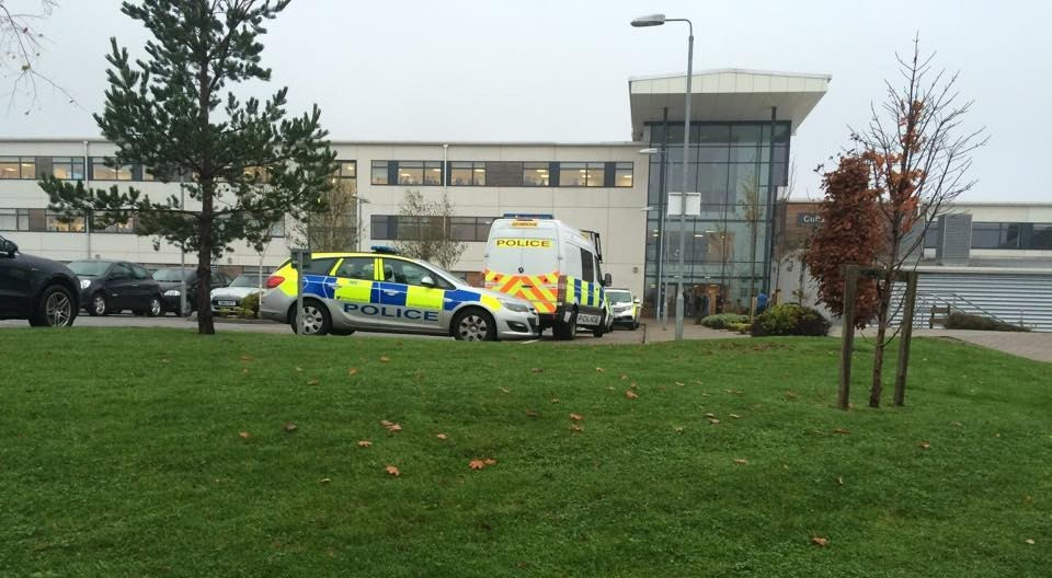 Police at the scene at Cults Academy