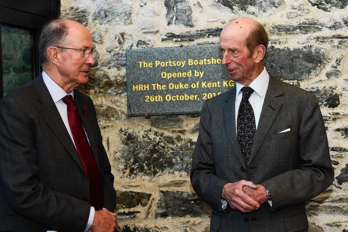 The Duke of Kent with Roger Goodyear on his visit to Portsoy