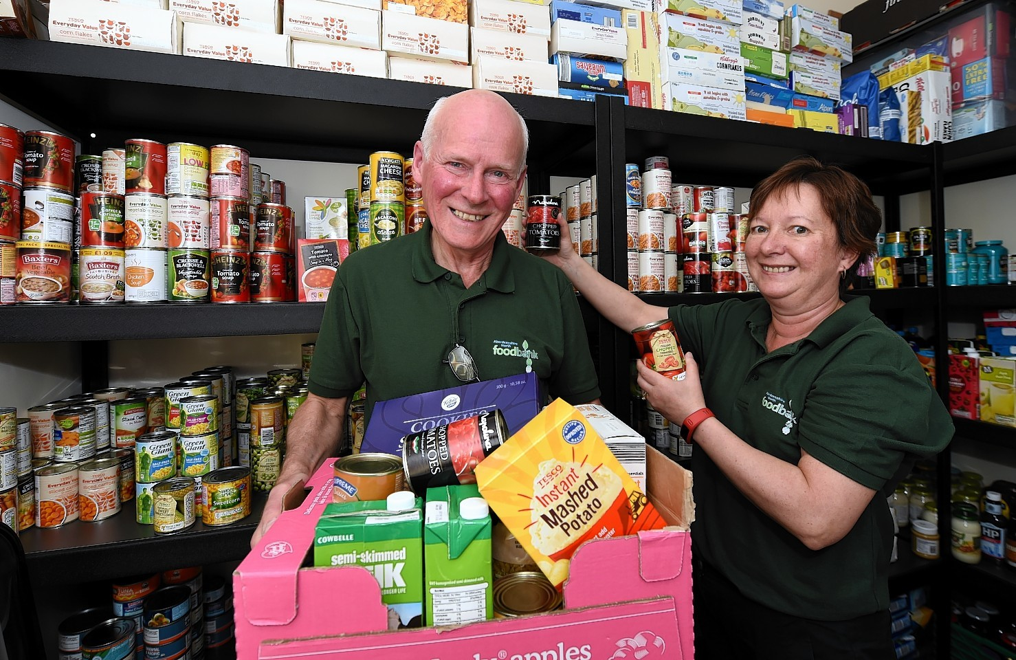 The Aberdeenshire North Foodbank at Inverurie are looking for funding for a new delivery van. In the picture are Victor Johnston, acting co-ordinator and Marie Dundas, volunteer.  Picture by Jim Irvine