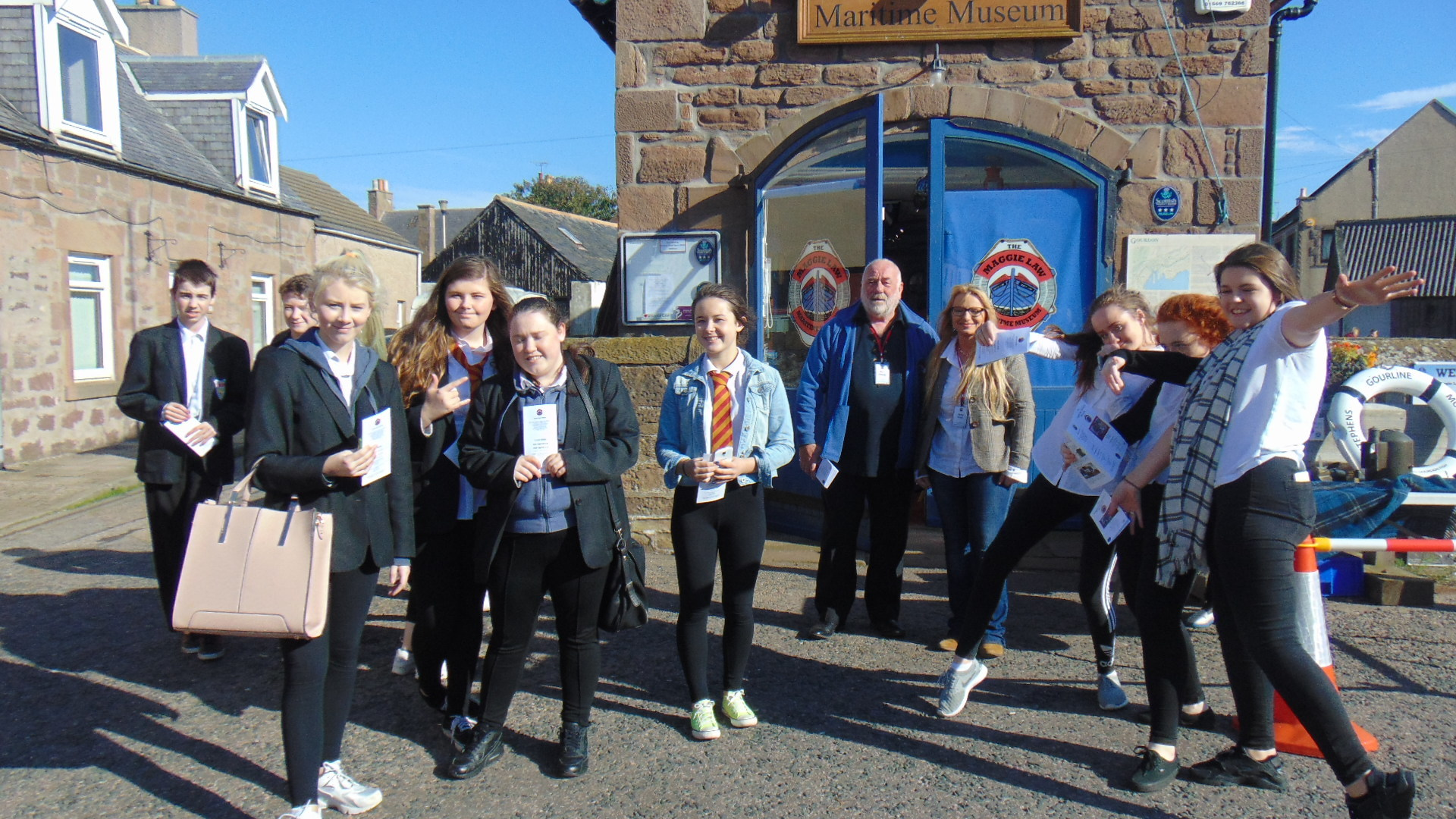 Fourteen national-five pupils from Aberdeen's Kincorth Academy spent a day touring the fishing village of Gourdon, speaking to fishermen and exploring its fish processing houses. Picture: Jim Duffy.