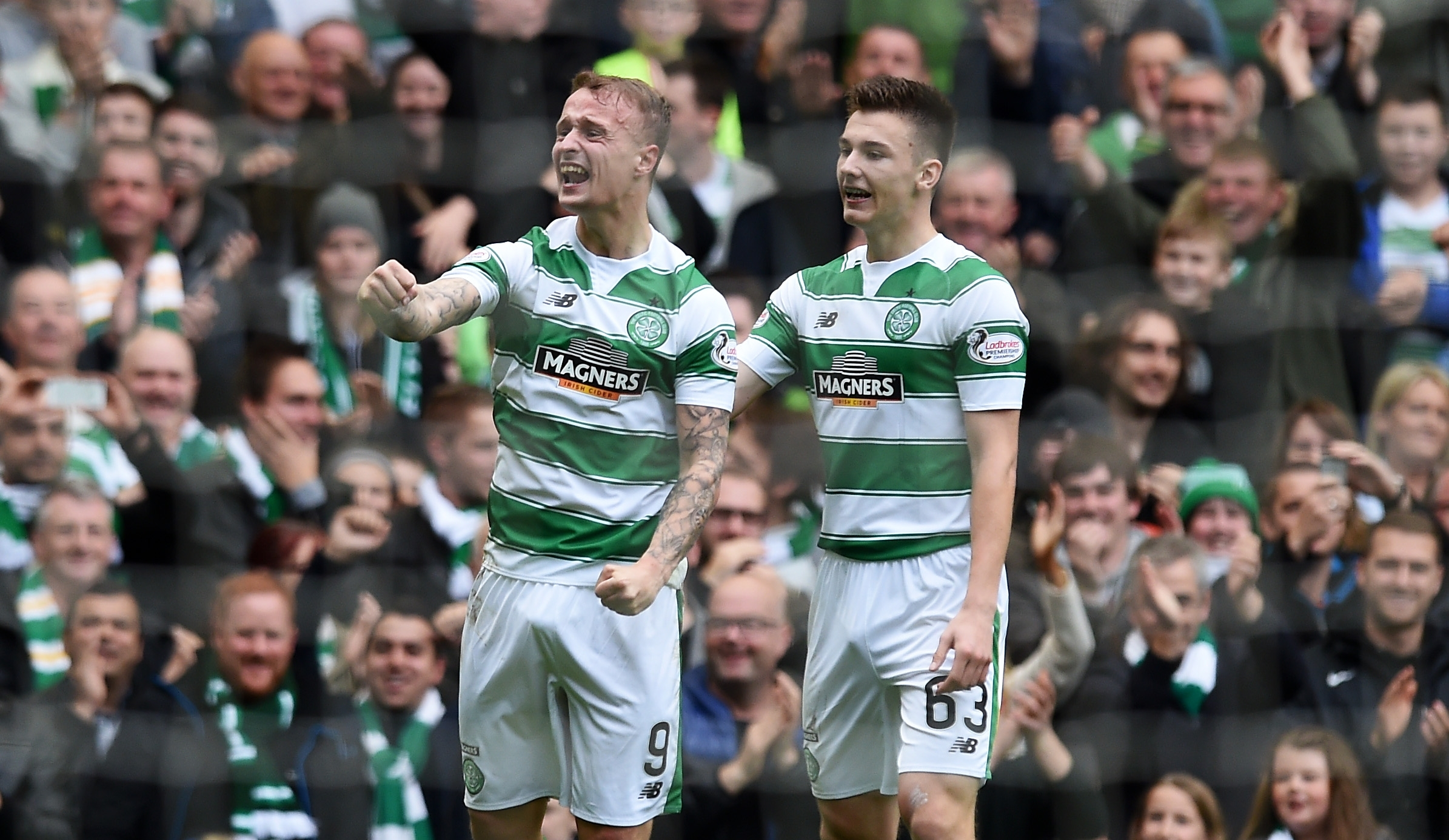 Griffiths (left) celebrates his first goal with team-mate Kieran Tierney