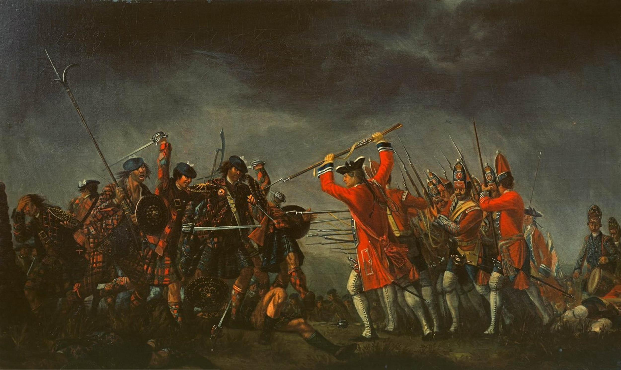 A depiction of the Battle of Culloden, where James and John Rattray fought alongside Bonnie Prince Charlie