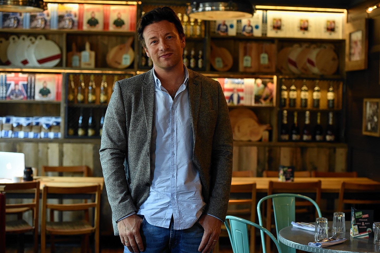 Jamie Oliver was visiting his restaurant on Union Street, Aberdeen. Picture by Jim Irvine