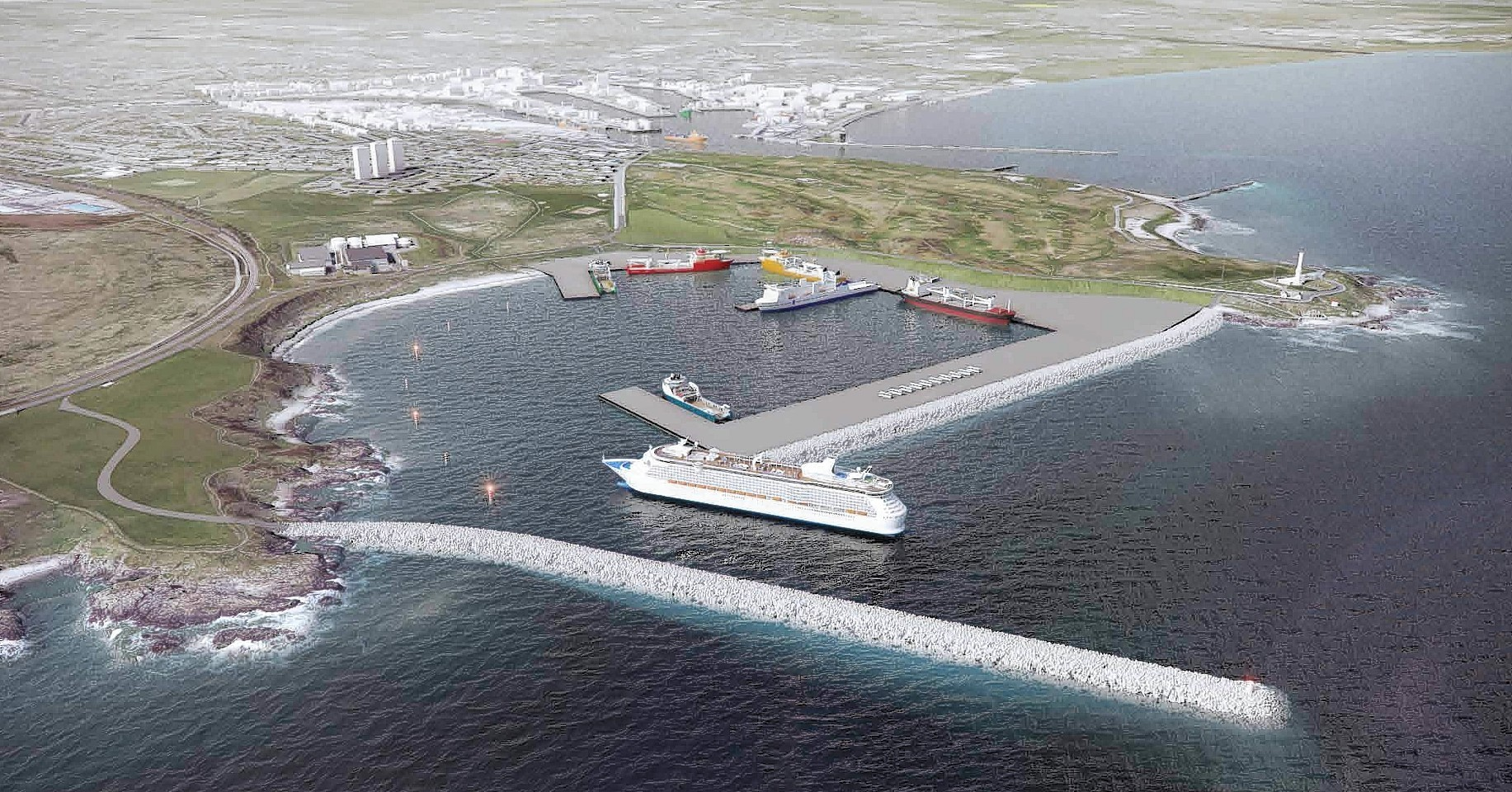 An computer generated image of the Nigg Bay expansion at Aberdeen harbour.
