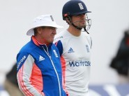 England coach Trevor Bayliss, left, is pondering a new opening partner for Alastair Cook, right