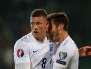 Ross Barkley (left) celebrates with Adam Lallana after opening the scoring for England