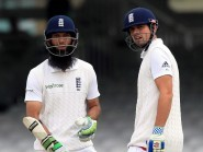 Moeen Ali, left, got his chance to open with Alastair Cook, right