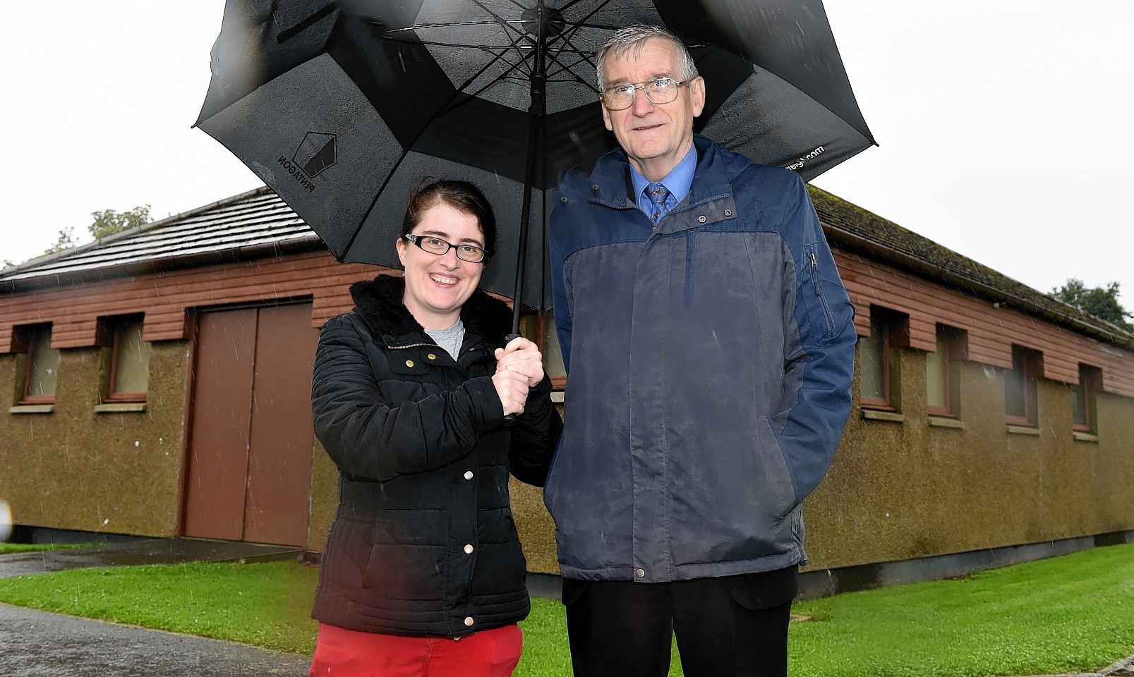 Making Potterton a better place staring with the sports pavillion. In the picture are Wendy Milne-Emslie and the Rev Andy Cowie.  Picture by Jim Irvine   7-10-15