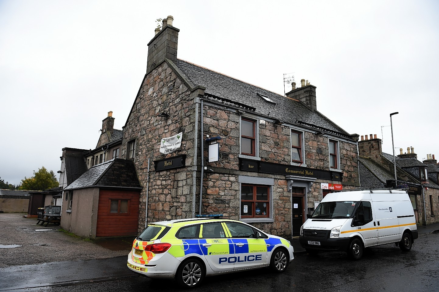 A woman has died after an incident at The Commercial Hotel on Commerce Street in Insch.