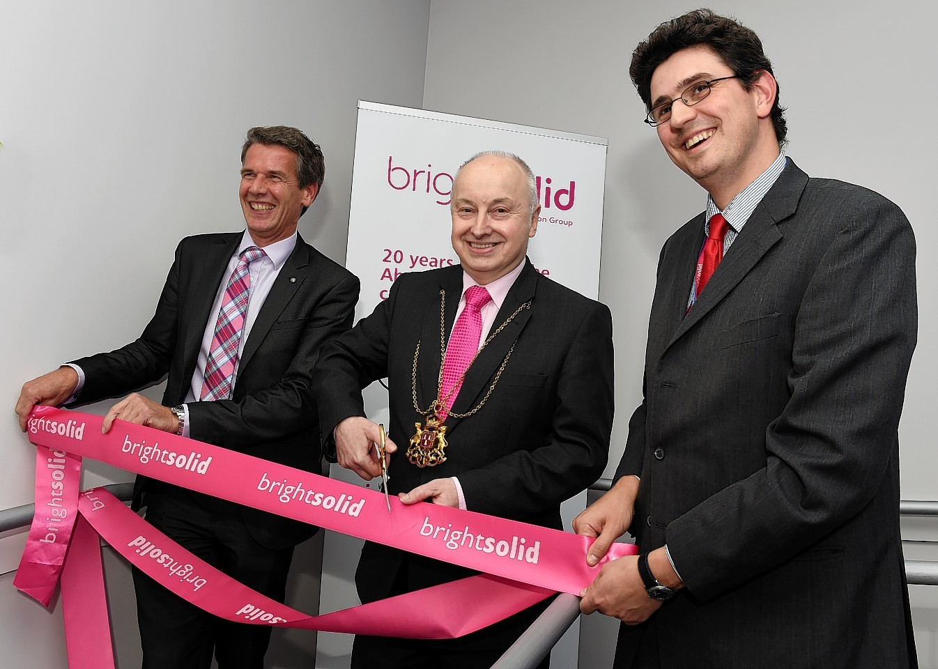 Richard Higgs, Lord Provost George Adam and Michael Thomson at the official opening of Brightsolid in Aberdeen. Picture by Jim Irvine