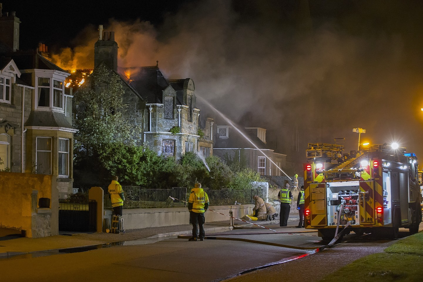 "Firefighters are battling a ""well-established"" fire in Moray"