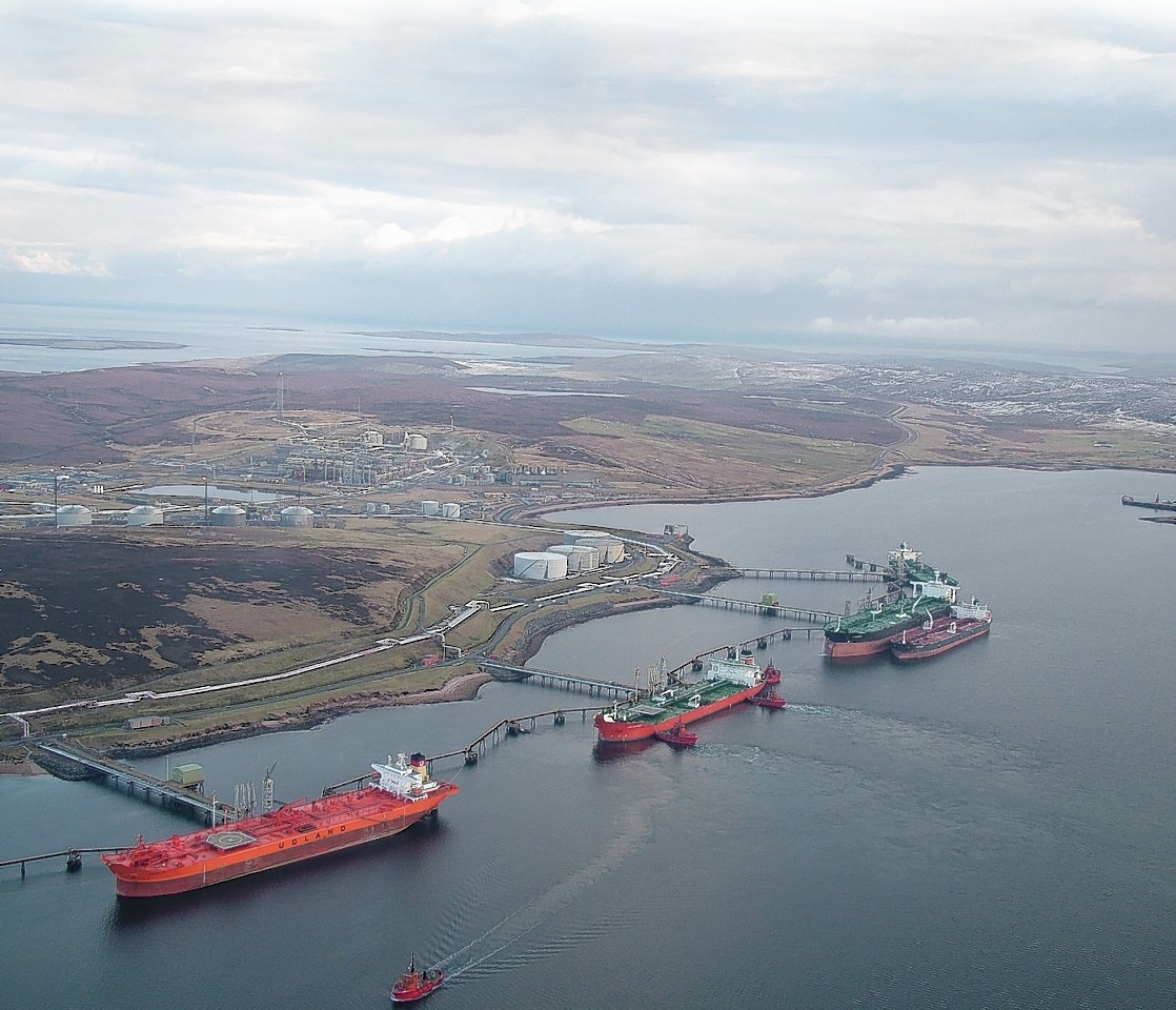 Five crude oil tankers at Sullom Voe Harbour