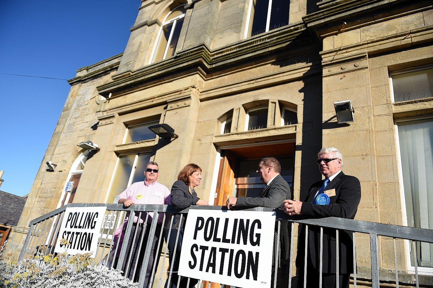 Agents and candidates outside the Polling Station at the Town Hall, Lossiemouth