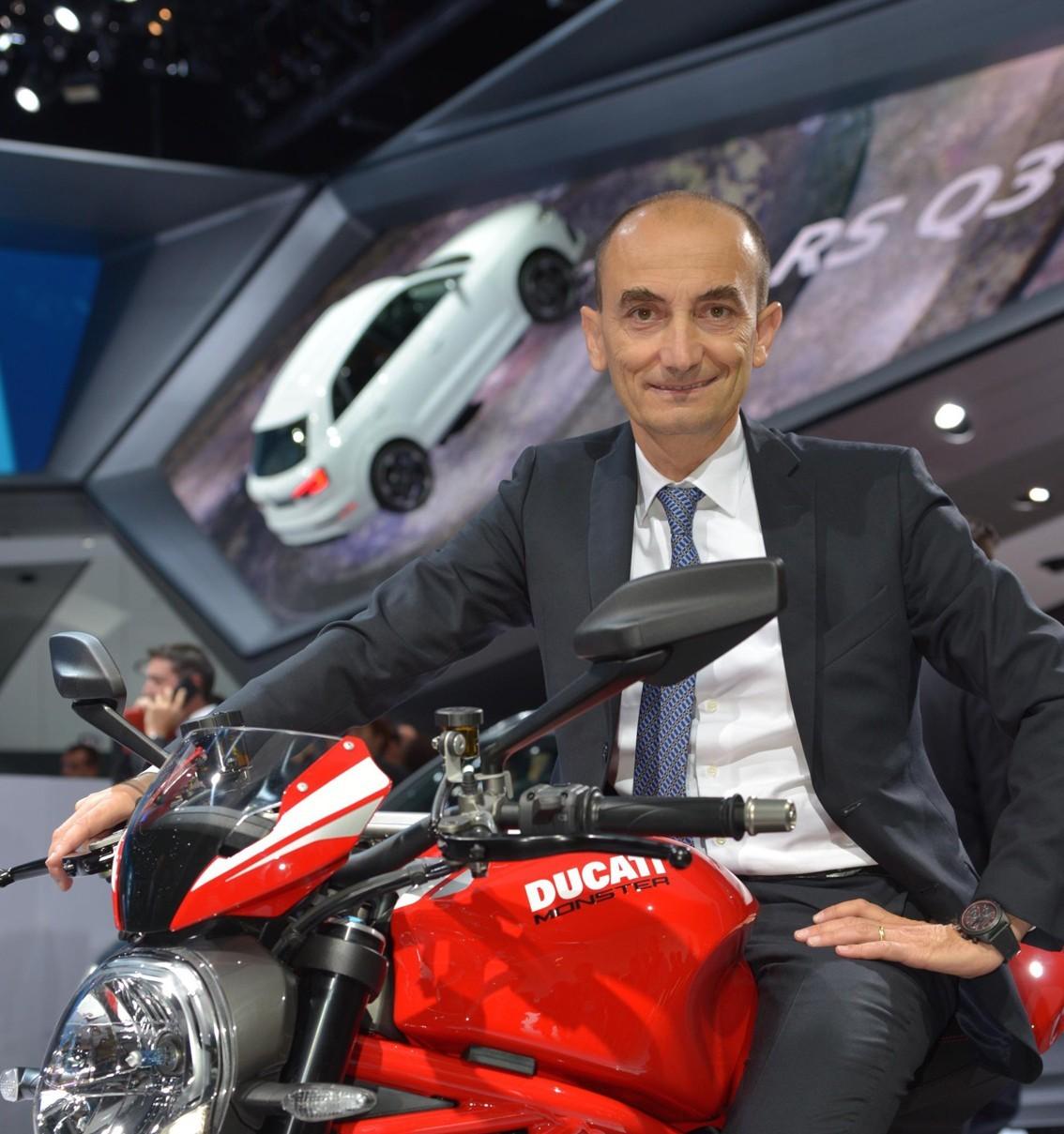 Ducati CEO Claudio Domenicali astride the 2016 Monster 1200 R