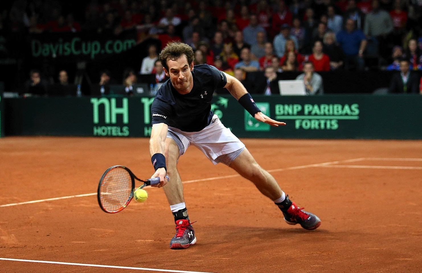 Great Britain's Andy Murray in action during day three of the Davis Cup final
