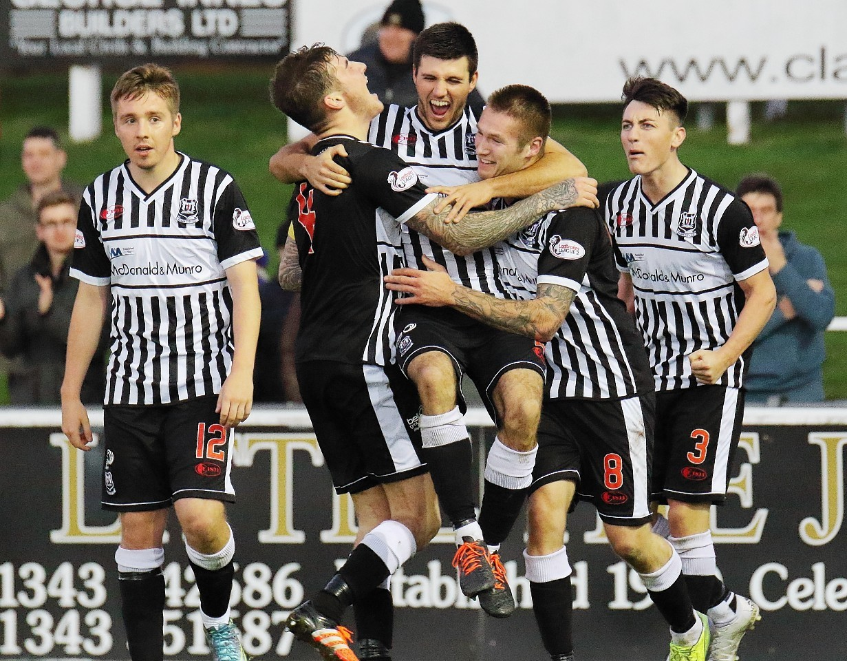 Brian Cameron celebrates his winner against Arbroath