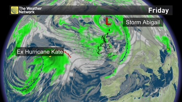 The remnants of Hurricane Kate are expected to arrive on UK shores this weekend