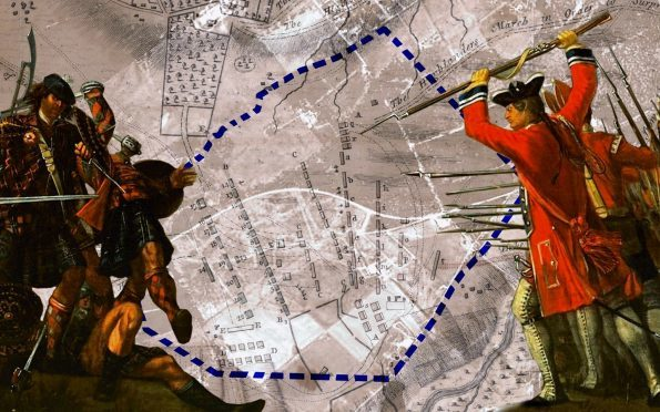 A rough map of the Culloden battlefield site with a blue marker showing the current conservation line.