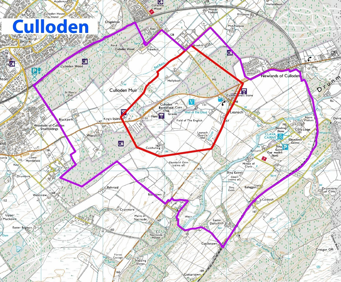 Map of the Culloden development exclusion areas
