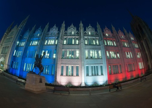 Marischal College lit up in Paris tribute. Picture by Norman Adams