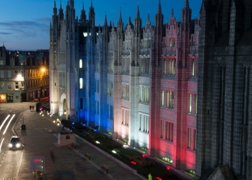 Marischal College lit up in respect for the victims of the Paris. Picture by Norman Adams