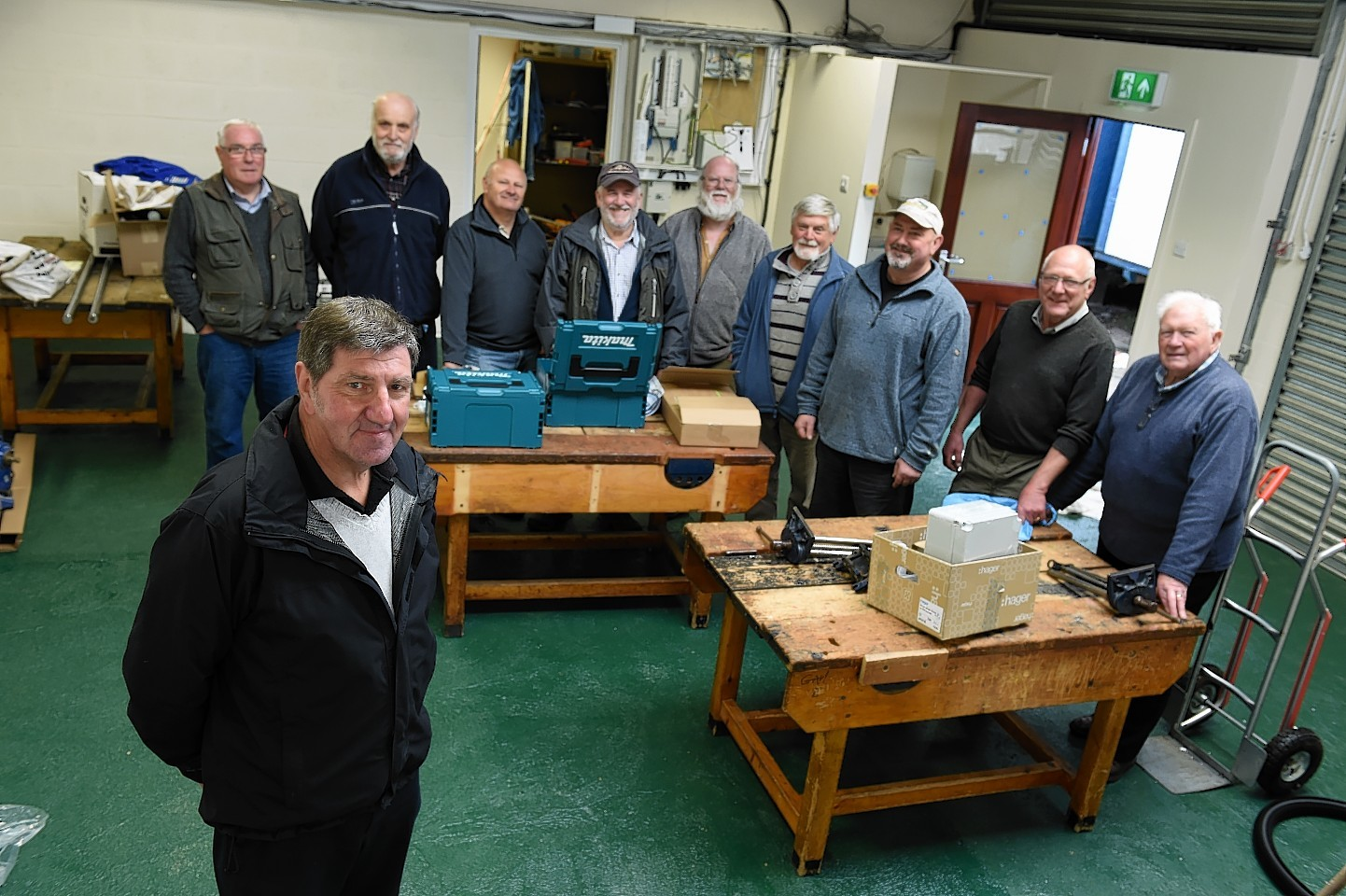Inverurie Men's Shed  secretary Alistair Smith and members. Picture by Kenny Elrick