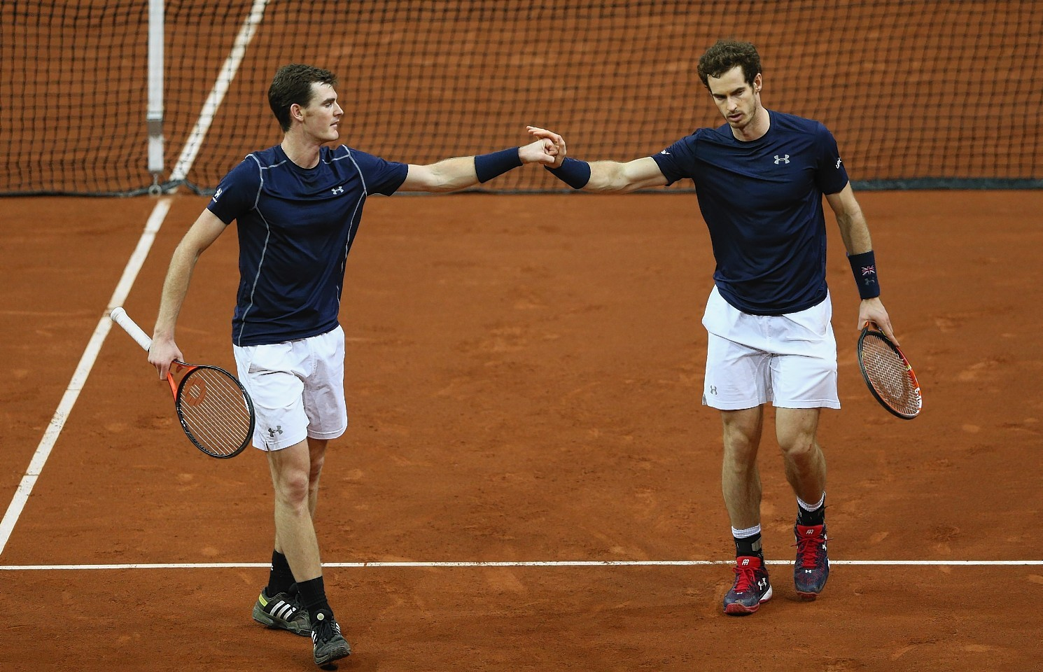 The Murray brothers on court in Belgium