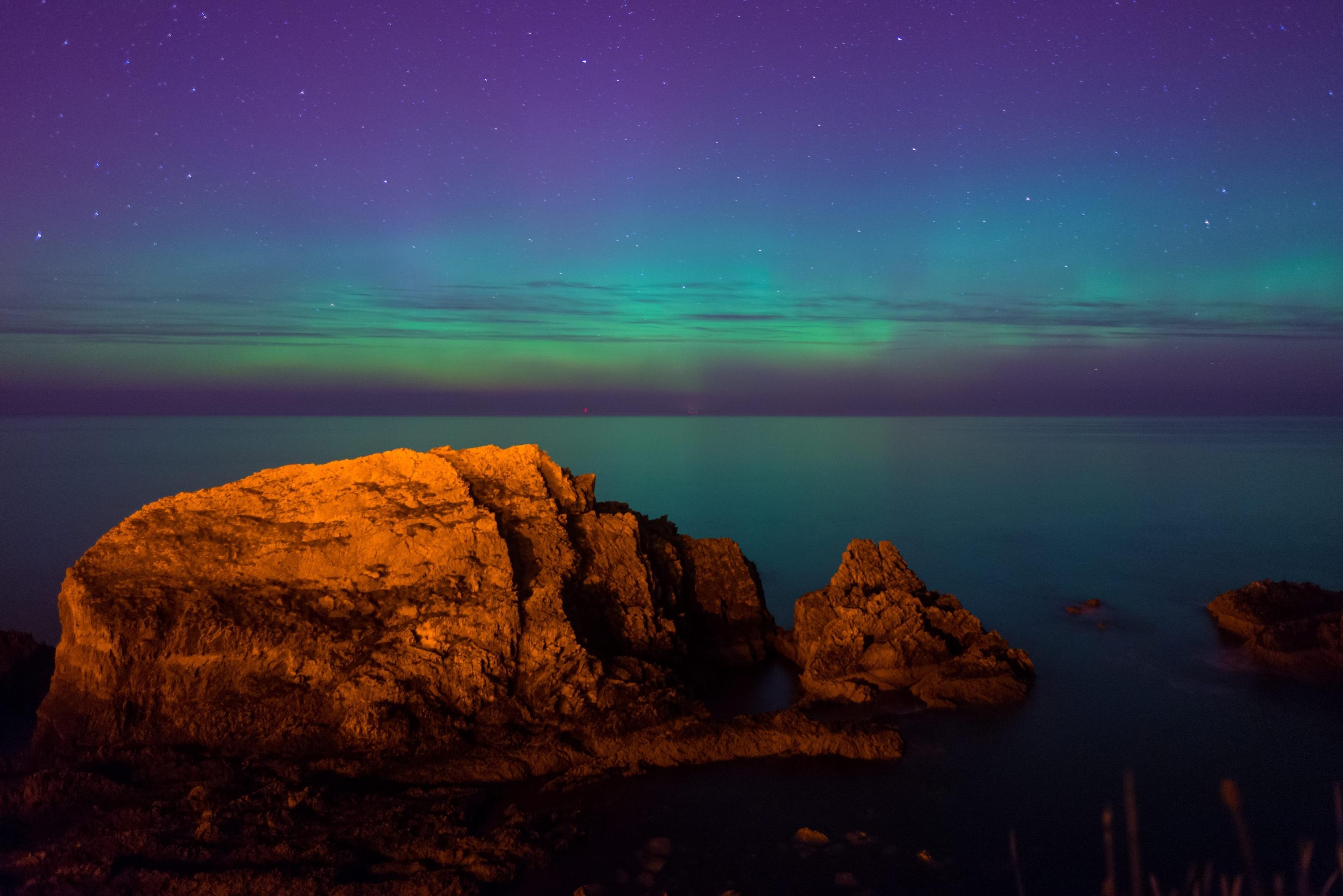 Stunning Aurora seen in Portknockie, Scotland,