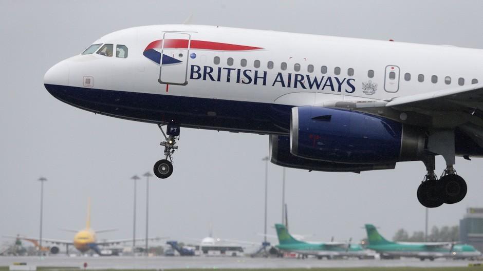 The passenger is on a British Airways plane