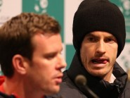 Great Britain Davis Cup captain Leon Smith, left, and Andy Murray speak at a press conference ahead of the final in Ghent
