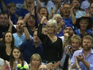 Judy Murray celebrates a winning point for her sons in the Davis Cup semi-final against Australia