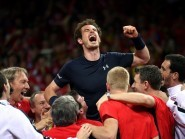 Andy Murray, centre, helped Great Britain secure the Davis Cup title in Ghent on Sunday
