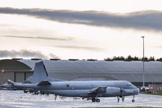 A Breguet Atlantique 2 belonging to the French Naval Avation is seen at RAF Lossiemouth