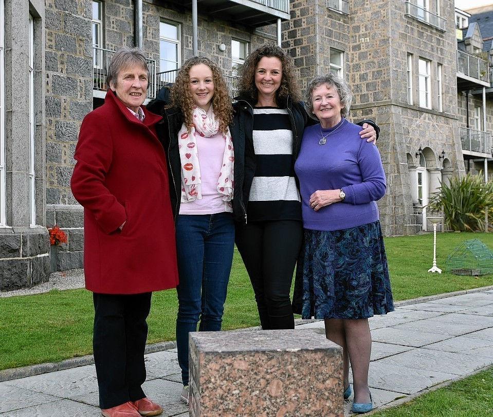 Great Granddaughter Lorna Clarke, Great Great Great Granddaughter Hannah Gilchrist, Great Great Granddaughter Laura Gilchrist and Great Granddaughter Jody Fearn. Picture by Colin Rennie