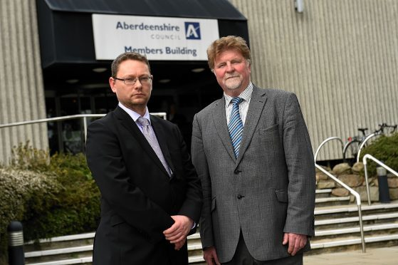 Co-leaders Richard Thomson and Martin Kitts-Hayes outside Woodhill House