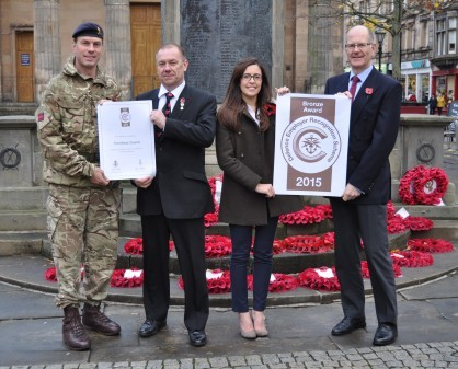Councillor Chris Tuke (second left) was presented with the award by Lt Col Tom Marsden (left), the commanding officer of 39 Engineer Regiment based at Kinloss Barracks, along with Katie Burton and council research and information officer Carl Bennett