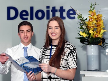 Deloitte trainee chartered accountants Aaron McDonald and Aimee Ritchie at their offices at Union Plaza.