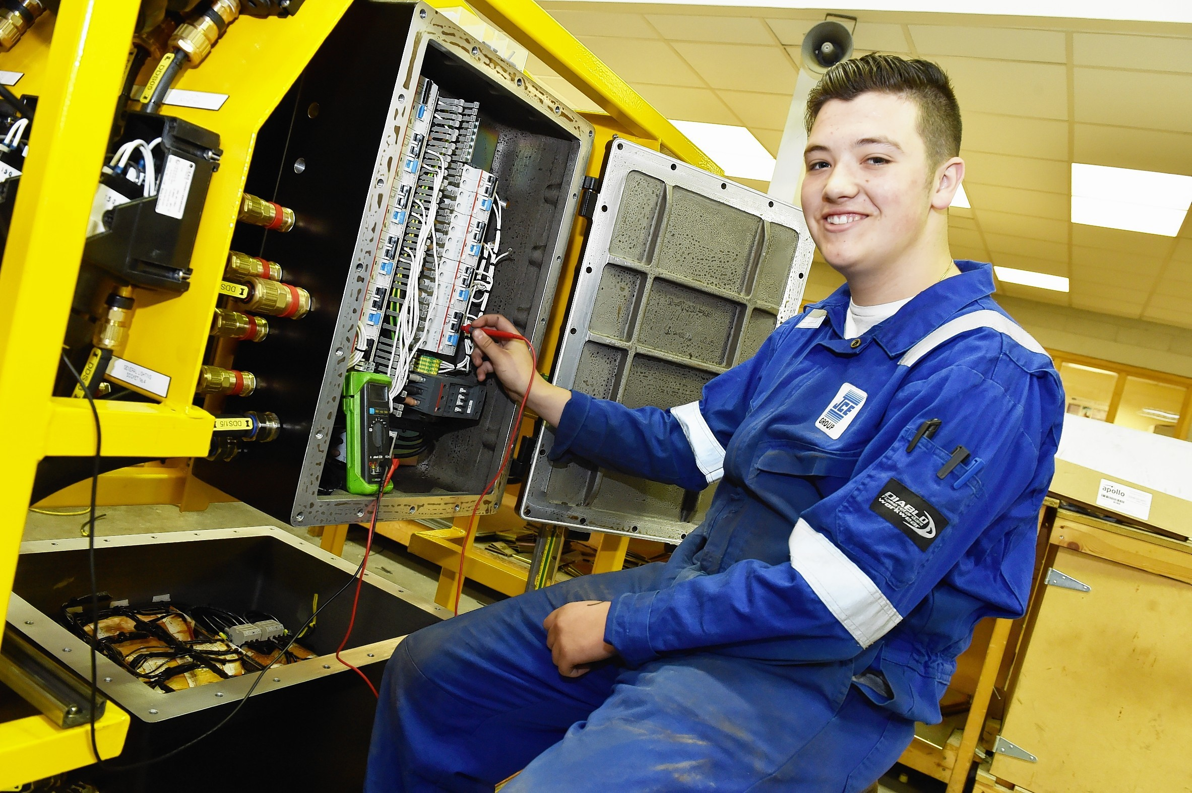 Apprentice Gregor Pirie with a distribution system for tank cleaning on FPSO's.