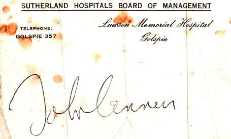 John's signature on the admission papers for the hospital
